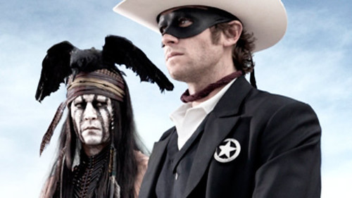 Johnny Depp, wearing KISS-like makeup as Tonto, and the Lone Ranger