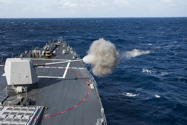 A round is fired from a Mk-45 5 inch gun during a live-fire weapons shoot aboard USS Preble (DDG 88)