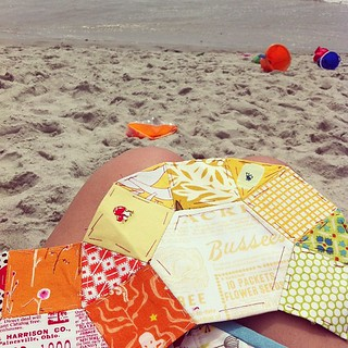 Brought my EPP to the beach today. ☺ #stitchyfun #englishpaperpiecing #vacationfun #myrtlebeach13