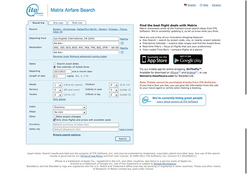 ITA Software Matrix Flight Planning and Fare Search Tool