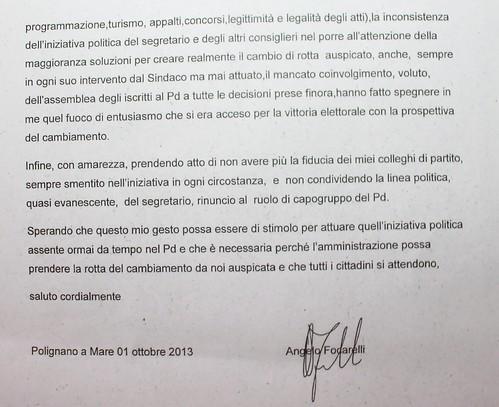 lettera dimissioni focarelli polignano 2