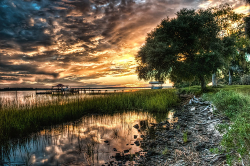 sunset tree grass clouds river dock day cloudy southcarolina marsh beaufort topaz beaufortsc coosaw