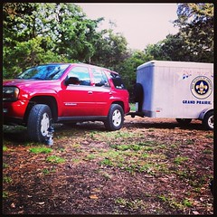 I towed the scout trailer to our camp out this past weekend...  Think I need to upgrade my rear springs.  :)