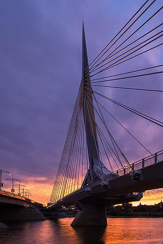 canada sunrise support downtown winnipeg manitoba redriver cablebridge theforks stboniface provencherbridge esplanaderiel