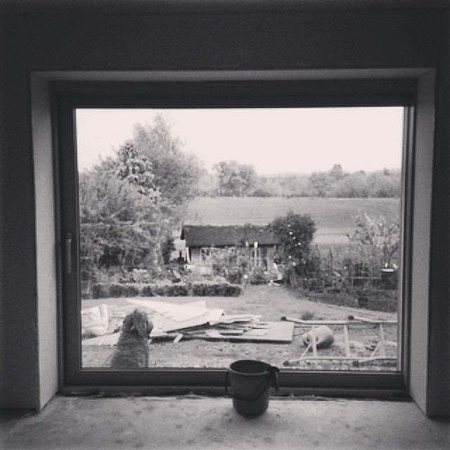 Picture window building site view