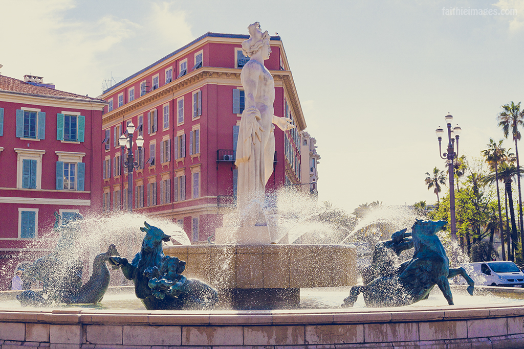 The fountain in Nice's Place Massena