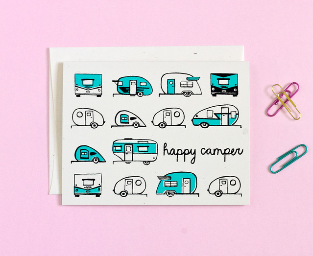 Happy Camper Vintage Trailer Card by Vitamini