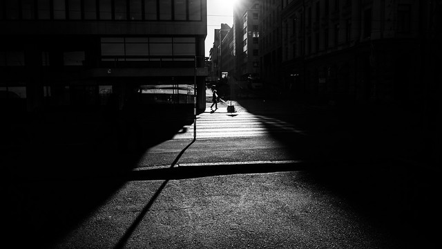 The walking woman - Helsinki, Finland - Black and white street photography
