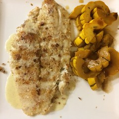 Almond-crusted flounder with vanilla sauce