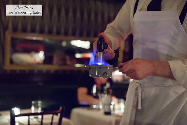 Lighting up the liquor for the duck flambé