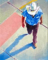 """Cowboy in a Crosswalk in Santa Fe"" now on exhibit at ViVO Contemporary #canyonroad #santafe #aerial #figurativeart #impressionism #artcollector"