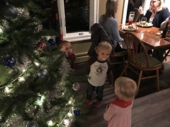 The twins meet a fellow young person at dinner by the Christmas tree at the club last night