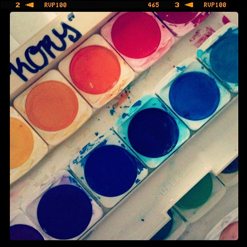 My old paintbox back from when I was in school...yes, I was into graffiti back then and amateurishly 'tagged' my stuff....quite embarrassing... #12von12 #12on12th