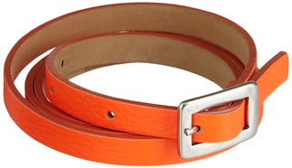 Orange Buckle Skinny Belt