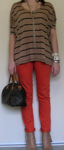 150412 106 awayfromblue striped tee orange pants acne pistol boots LV speedy 25