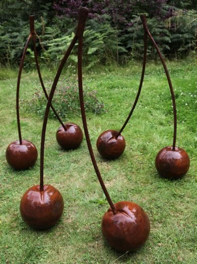 Ian Gill, Three pairs of cherries, steel lot 608