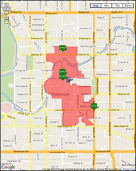 downtown Red Zone as of June 2012 (Canterbury Earthquake Recovery Authority)