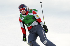 Kelsey Serwa celebrates her first-place finish at the ski cross World Cup in Innichen/San Candido, ITA