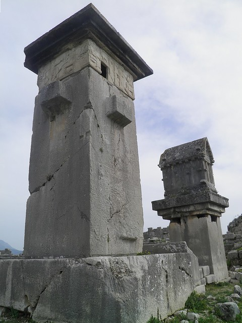 Lycian monumental tombs, the Harpy tomb and the pillared sarcophagus, Xanthos, Lycia, Turkey