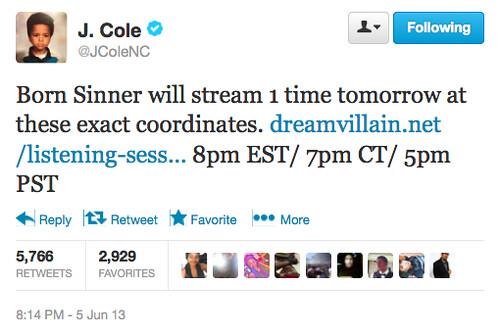 J. Cole (@JColeNC) #BornSinnerListening Annoucement