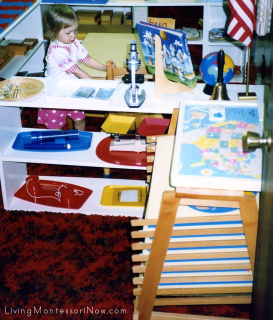 Christina at age 2 in our Montessori homeschool, 1992.