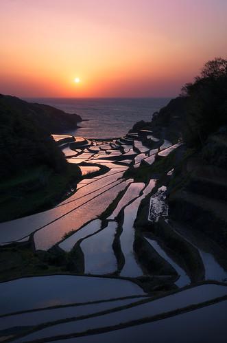 sunset sea sky sun nature water japan landscape spring rice clear saga riceterraces kyushu tanada 2013 sagaprefecture arcreyes hamanoura higashimatsuuradistrict
