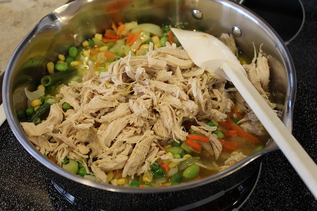 Add in the Chicken & Broth