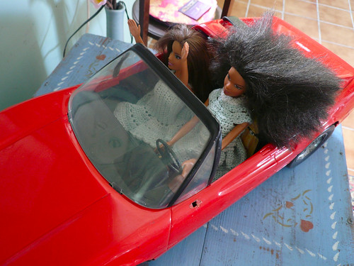 Barbies in car closer