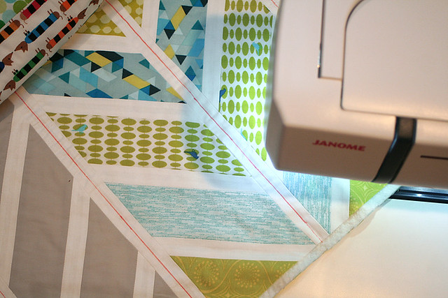 Quilting the herringbone baby quilt