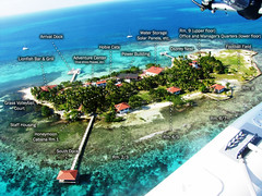 Hatchet Caye aerial view map