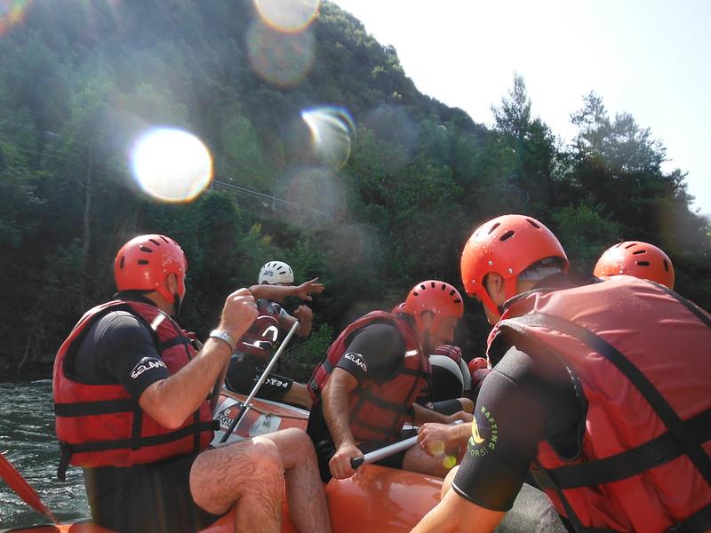 En pleno rafting, en Llavorsí.