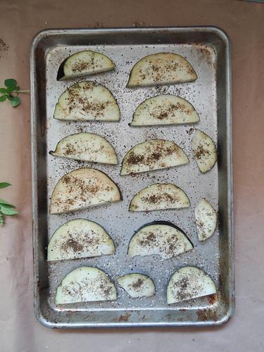 za'atar crusted eggplant // tomato  basil naan flat bread's
