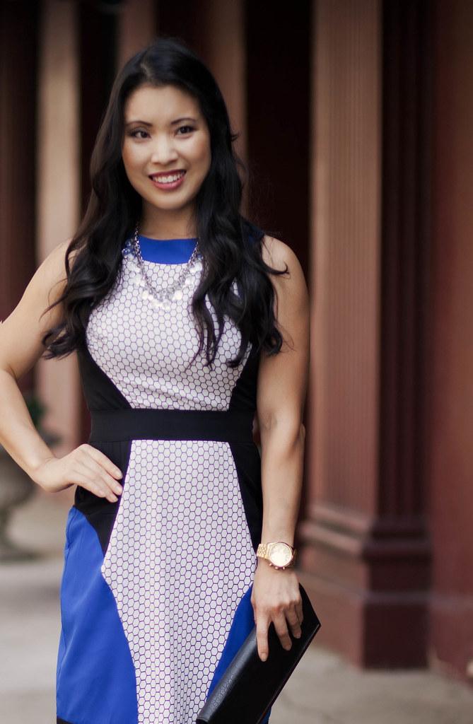 cobalt blue white honeycomb print dress | wedding guest cocktail dress outfit | petite fashion