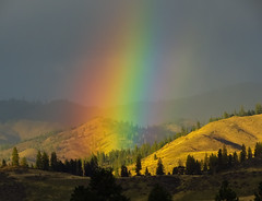 rainbow, mountain, sunlight, nature,