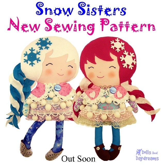 ♡ New double #dolly #SewingPattern Preview!  ♡ OUT TOMORROW!!!! ♡ With their pepper mint swirl hair and snow ball dresses how could anyone resist the Snow Sister! ♡ 4 easy hair styles included, removable cape and shoes! ♡ So customizable! ♡
