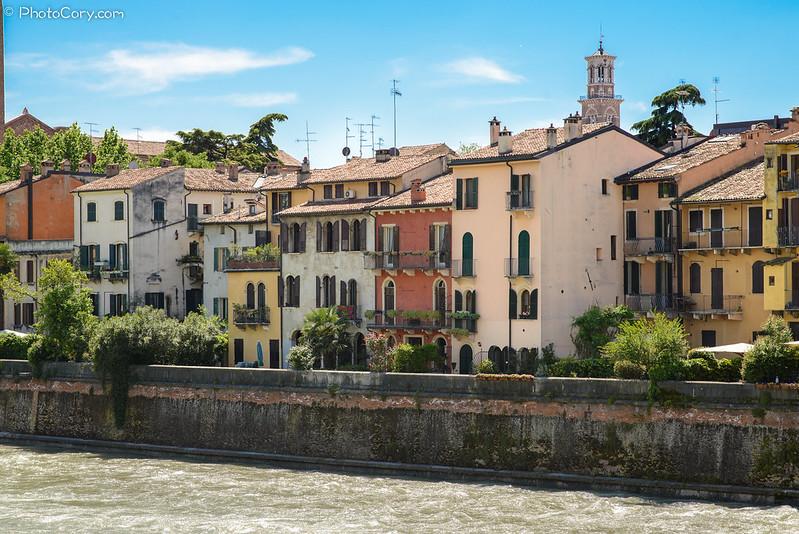 Houses on Adige River in Verona
