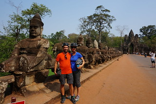 Photo op on bridge into Angkor Thom