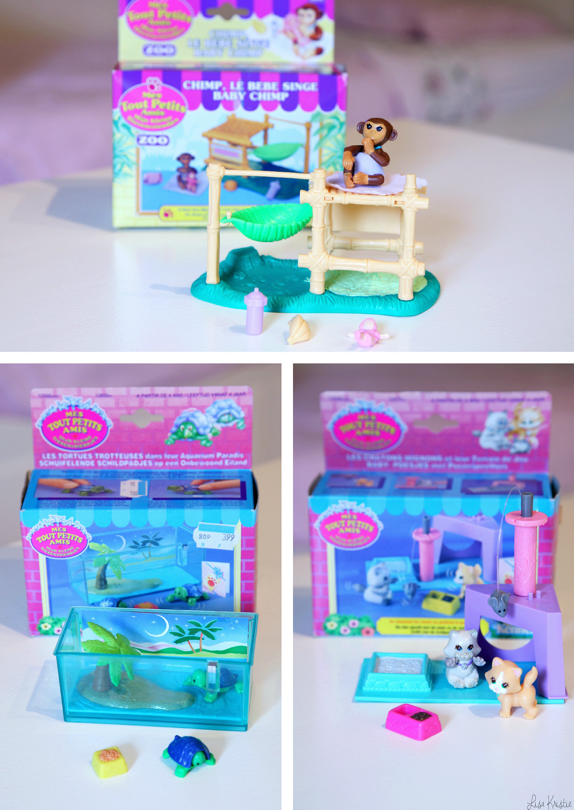 kenner parker hasbro littlest pet shop toys vintage 1992 90's original genuine with packaging chimp turtles tortoise cats kittens complete full set mint tonka corporation mes tout petits amis animals pets