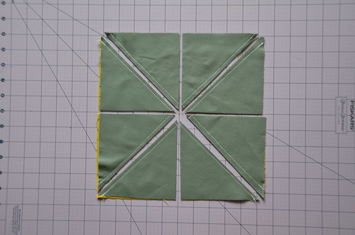 5. Make 4 Cuts, Splitting the Square In Half