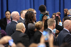 Michelle Obama with supporters