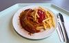 Curried sausage with french fries / Currywurst mit Pommes Frites