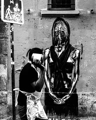If you get up in Paris and you're lucky, your piece gets flicked by your favorite photographer @sissadavid and takes on a whole new context. #eddiecolla #parisstreetart #streetartparis #theforgottensaints #lessaintsoubliés