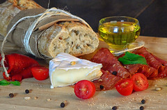 Brie & salami with basil & olive oil.