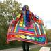 Kaleidocoat - Multicolor Multimotif Striped And Hooded Hippie Crochet Coat by babukatorium