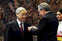 Cuban President Raul Castro Ruz awards Vietnamese Communist Party General Secretary Nguyen Phu Trong the Jose Marti award in Havana. The two countries share a legacy of anti-imperialism and socialism. by Pan-African News Wire File Photos