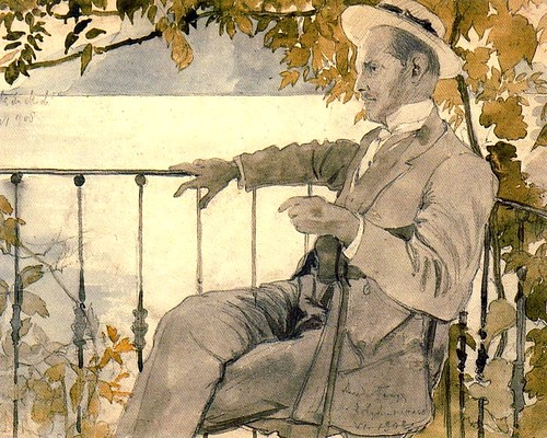 Benois, Alexandr (1870-1960) - 1908 Portrait of Mstislav Dobujinsky on the Terrace of the Villa du Midi (Private Collection)