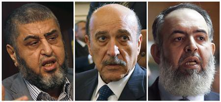A combination photo shows (L-R) Muslim Brotherhood and the Freedom and Justice Party's (FJP) Khairat al-Shater on April 8, 2012, Vice President Omar Suleiman on February 6, 2011 and Salafist leader Hazem Salah Abu Ismail on December 15, 2011. by Pan-African News Wire File Photos