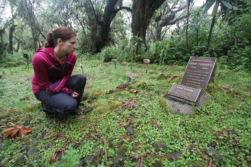 Holly at Dian Fosseys gravesite Rwanda photo by  Mike Dillon