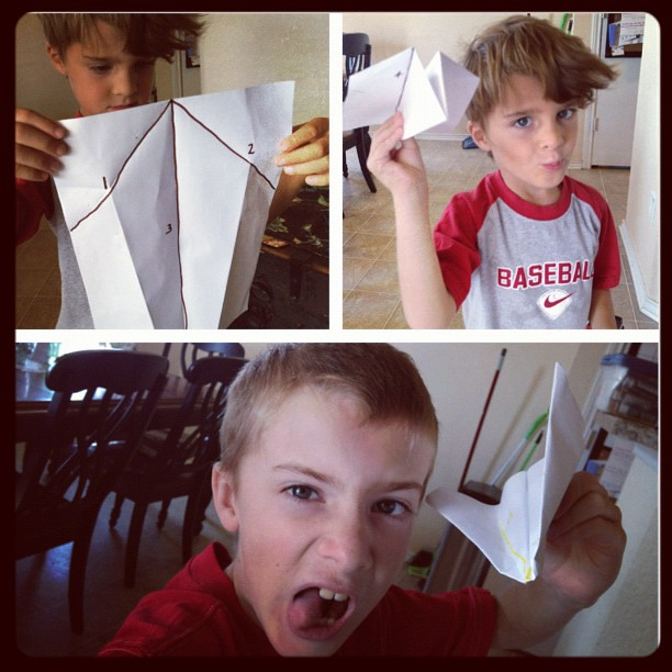 I have the coolest kids! On a piece of paper Vincent wrote simple step by step instructions on how to build a paper airplane. On his own, Jack followed the instructions and made an airplane. #paperairplanes #coolkids
