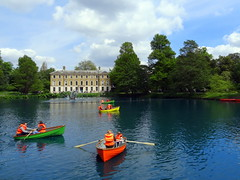 Boating on the Palm House Pond at the Royal Botanic Gardens, Kew